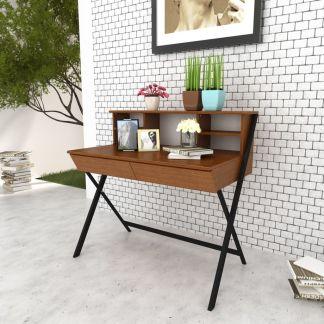Darbo, kompiuterio stalas su 2 stalčiais, rudas