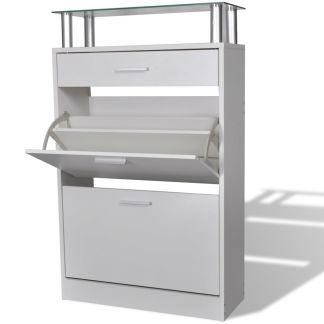 vidaXL Batų spintelė su stalčiumi ir stikline lentyna, balta, medinė
