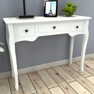 vidaXL Kosmetinis konsolinis staliukas su trimis stalčiais, baltas