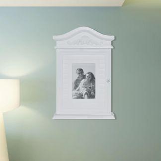 vidaXL Spintelė raktams su nuotraukos rėmeliu, balta
