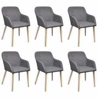 vidaXL Valgomojo kėdės, 6 vnt., šv. pilkas aud. ir ąžuolo med. mas.