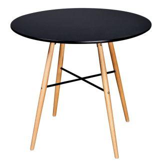 vidaXL Valgomojo stalas, MDF, apvalus, juodas
