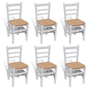 Baltai dažytos medinės valgomojo kėdės, 6 vnt.