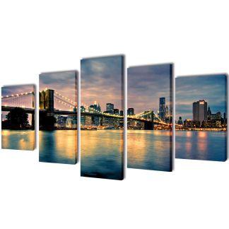 """Fotopaveikslas """"Bruklino Upė ir Tiltas"""" ant Drobės 100 x 50 cm"""