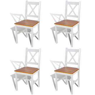 vidaXL Valgomojo kėdės, 4 vnt., medinės, baltos ir natūralios spalvos