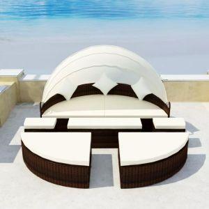 vidaXL Sodo gultas su skliautu, rudas, 186x226cm, poliratanas