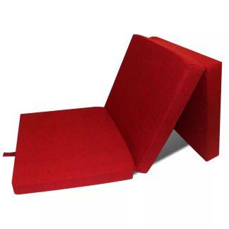 vidaXL Čiužinys, trijų dalių, putplastis, 190x70x9cm, raudonas
