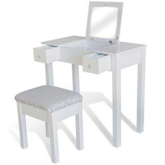 vidaXL Kosmetinis staliukas su kėdute ir 1 pakel. veidrodžiu, baltas