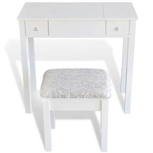 Kosmetinis staliukas su kėdute ir 1 pakel. veidrodžiu, baltas