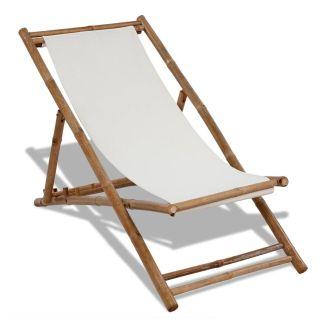 vidaXL Lauko terasos krėslas, bambukas ir drobė