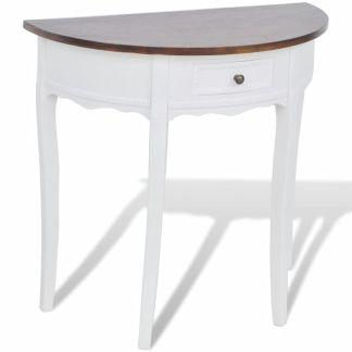 vidaXL Konsolinis staliukas su stalčiuku, rudas stalviršis, pusapvalis
