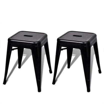vidaXL Kėdutės, 2 vnt., sukraunamos, metalinės, juodos