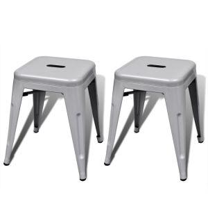 vidaXL Kėdutės, 2 vnt., sukraunamos, metalinės, pilkos