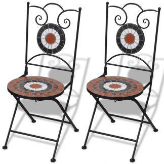 vidaXL Sulankstomos bistro kėdės, 2 vnt., keramika, terakota ir balta