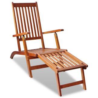 vidaXL Kėdė terasai su atrama kojoms, akacijos mediena