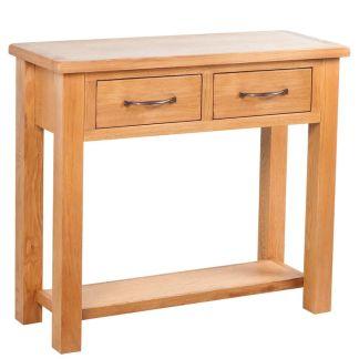 vidaXL Konsolinis stal. su 2 stalčiais, 83x30x73cm, ąžuolo med. mas.