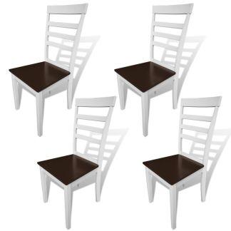vidaXL Valgomojo kėdės, 4 vnt., masyvi mediena, rudos ir baltos sp.