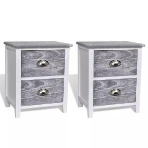 Naktiniai staliukai, 2 vnt., su 2 stalčiukais, pilka ir balta