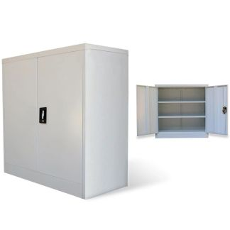 vidaXL Biuro spintelė, 2 durys, pilka, 90cm, plienas