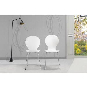 2 Sukraunamos drugelio formos valgomojo kėdės, baltos