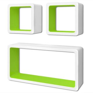 3 Baltai Žalios MDF Lentynos Nematomais Laikikliais, Knygoms, DVD