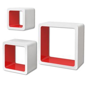3 Baltai Raudonos MDF Lentynos su Nematomais Laikikliais, Knygoms, DVD
