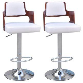 vidaXL Baro kėdės, 2 vnt., dirbtinė oda, kvadratinė sėdynė, baltos