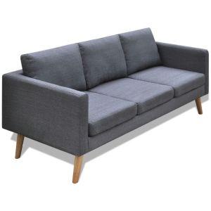 vidaXL Trivietė sofa, audinys, tamsiai pilka