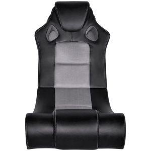 Muzikinė supamoji kėdė, dirbtinė oda, juodai pilka