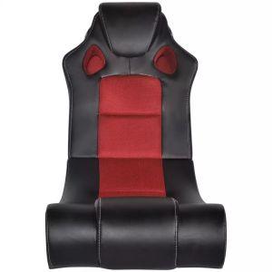 Muzikinė supamoji kėdė, dirbtinė oda, juodai raudona