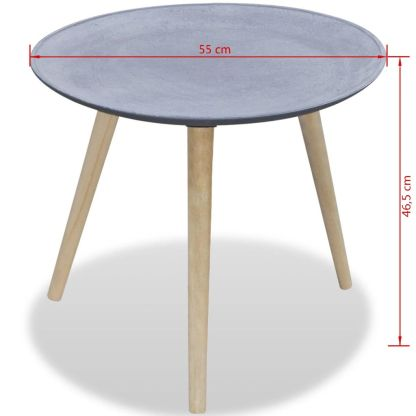 Šoninis staliukas, apvalus, pilkas, betono apdaila