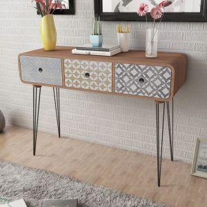 vidaXL Konsolinis staliukas su 3 stalčiais, rudos spalvos