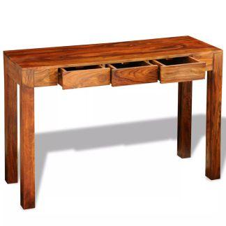 vidaXL Konsolinis staliukas su 3 stalčiais, 80 cm, masyvi akac. med.