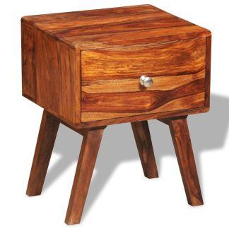 vidaXL Naktinis staliukas, su stalčiu, 55 cm, masyvi akac. med.