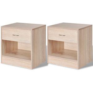 vidaXL Naktiniai staliukai, 2 vnt., su stalčiu, ąžuolo spalvos