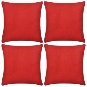 4 Raudoni Pagalvėlių Užvalkalai, Medvilnė, 40 x 40 cm