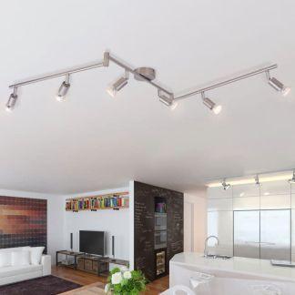 vidaXL Lubų Šviestuvas su 6 LED Lemputėmis, Glotnus Nikelis