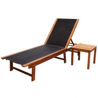 vidaXL Saulės gultas su stalu, akacijos mediena ir tekstilenas