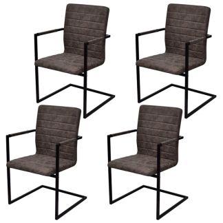 vidaXL Valgomojo kėdės, 4 vnt., gembės dizainas, rudos