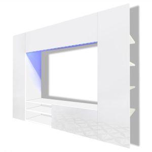 Balta Labai Blizgi TV Spintelė Namų Kino Teatrui, LED, 169,2 cm