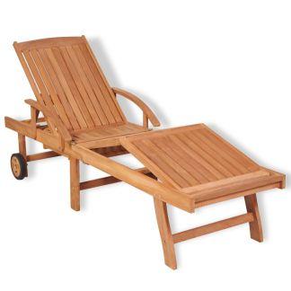 vidaXL Saulės gultas, tikmedžio medienos masyvas