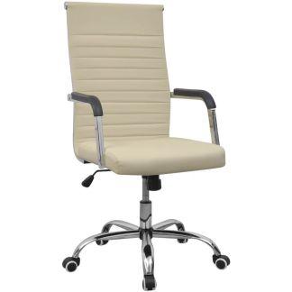 vidaXL Biuro Kėdė, Dirbtinė Oda, 55 x 63 cm, Kreminės Spalvos