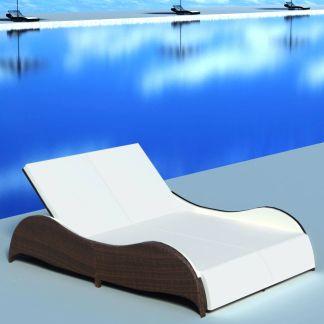 vidaXL Dvivietis saulės gultas su pagalvėle, poliratanas, rudas