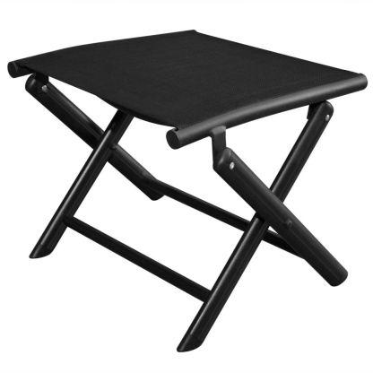vidaXL Sulankstoma kėdutė kojoms, aliuminis, 41×49,5×38 cm, juoda