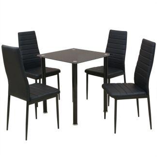 vidaXL Penkių dalių, valgomojo stalo ir kėdžių komplektas, juodas