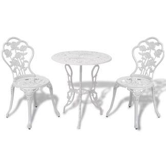 vidaXL Bistro baldų komplektas, 3d., aliuminis, baltas
