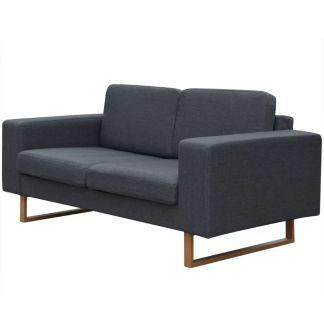 vidaXL dvivietė medžiaginė sofa, tamsiai pilkos spalvos