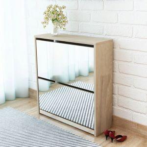 vidaXL Batų dėžė, 2 lygių su veidrodžiais, ąžuolo spalvos, 63x17x67 cm