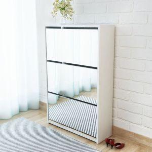 vidaXL Batų dėžė, 3 lygių su veidrodžiais, balta, 63x17x102,5 cm