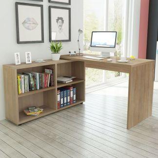 vidaXL Kampinis rašomasis stalas, 4 lentynos, ąžuolo spalvos